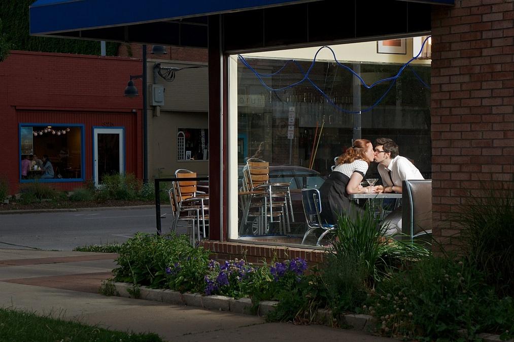Nicole and Matt at the Bluebird Diner in Iowa City. 2012