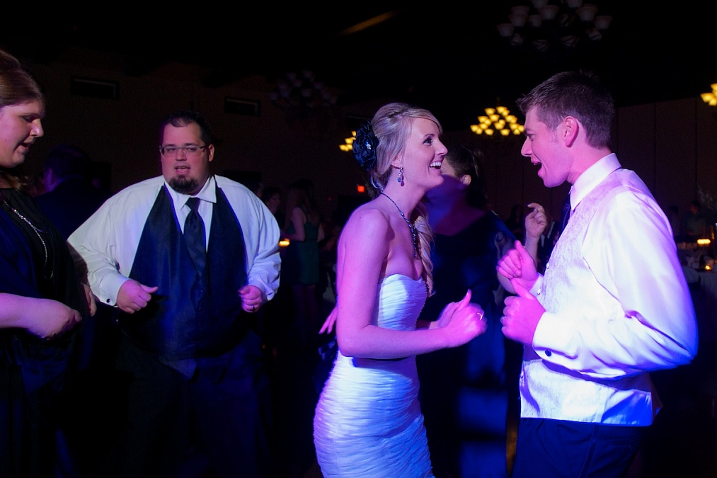 Sarah and Alex dance away during their wedding reception.