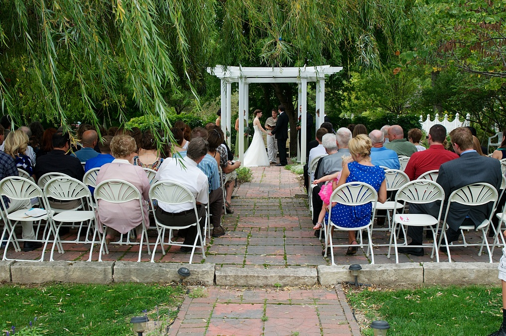 Wedding ceremony at the Gazebo on the Green.