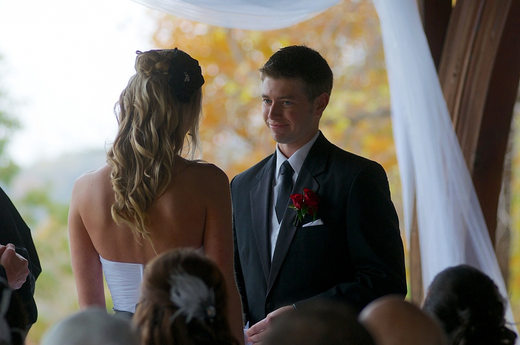 The fall wedding ceremony takes place at F.W. Kent Park in Johnson County, Iowa.
